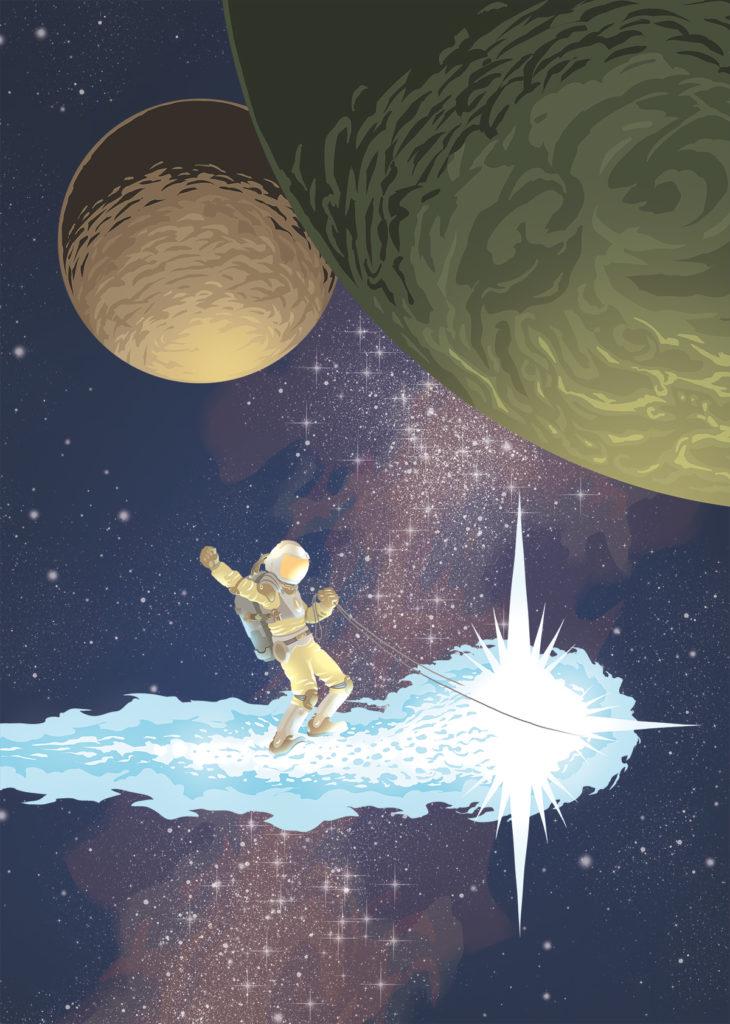 Astronaut reitet auf einem Kometen durchs All.